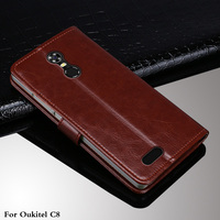 For OUKITEL C8 case flip leather with card pocket phone protect shell for Oukitel C8 4G
