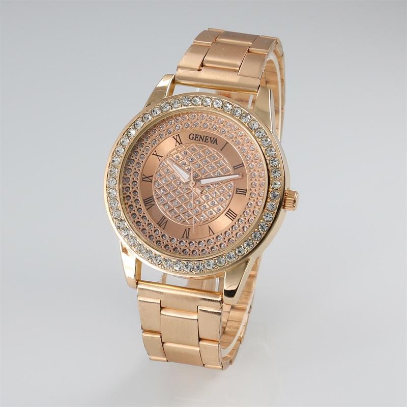 b5ff46c944e Relógios de Pulso 2018 Moda Assista Genebra Unisex Relógio Quartz Mulheres  Analógico Relógios de Cristal Aço Inoxidável Masculino
