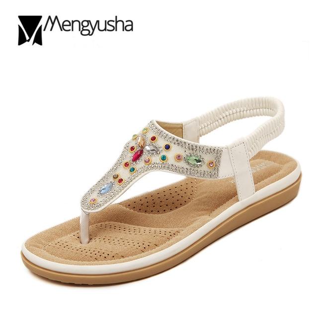 4008b4dc7404 Bohemia rhinestone Sandals Woman Crystal flipflops Pearl glitter Elastic  belt summer shoes colorful rivet clip toe sandals mujer