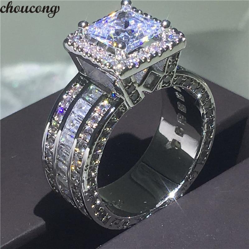 Choucong Tribunal Vintage Anel 925 sterling silver Princesa corte AAAAA cz pedra anel de Noivado de Casamento Anéis da faixa Para As Mulheres de Jóias Presente