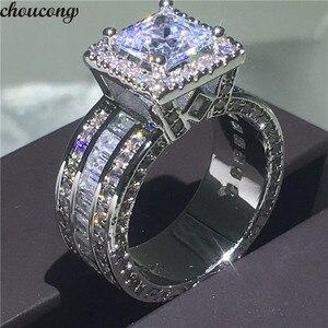 Image 1 - Choucong Vintage Gericht Ring 925 sterling Silber Prinzessin cut AAAAA cz stein Engagement Hochzeit band Ringe Für Frauen Schmuck Geschenk