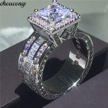 Choucong Vintage mahkemesi yüzük 925 ayar gümüş prenses kesim AAAAA cz taş nişan düğün band yüzükler kadınlar takı hediye için