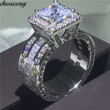 Choucong ヴィンテージ裁判所リング 925 スターリングシルバープリンセスカット AAAAA cz ストーン婚約結婚指輪バンドリング女性のジュエリーギフト(China)