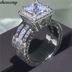 Image 1 - choucong Vintage Court Ring 925 sterling Silver Princess cut AAAAA cz stone Engagement Wedding band Rings For Women Jewelry Gift