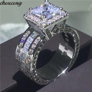 choucong Vintage Court Ring 925 sterling Silver Princess cut AAAAA cz stone Engagement Wedding band Rings For Women Jewelry Gift colorfish new unique design three stone wedding ring round cut sona 925 sterling silver for women engagement ring lovers promise