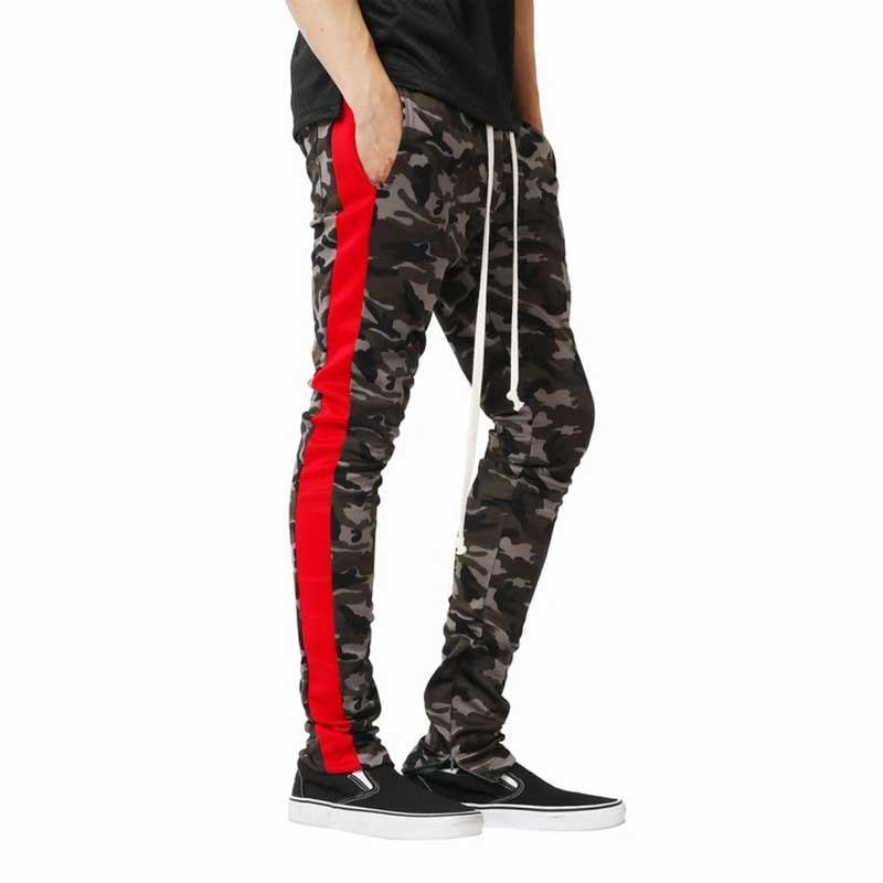 Side Stripes Camouflage Men Pants 2019 Spring Autumn Men Military Fashion Camo Trousers Hip Hop Zipped Ankle Skinny Sweatpants