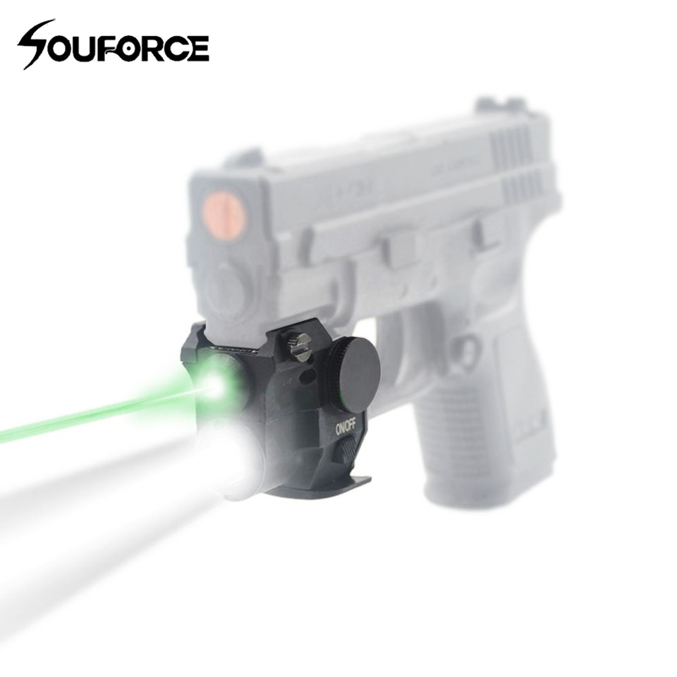 Tactical Green Laser Sight with LED Flashlight Compact Aluminum Alloy Weapon Light for 20mm Picatinny Rail Rifle Pistol Shooting
