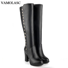 VAMOLASC New Women Autumn Winter Warm Leather Knee High Boots Zipper Rivets Square High Heel Knight Boots Platform Women Shoes