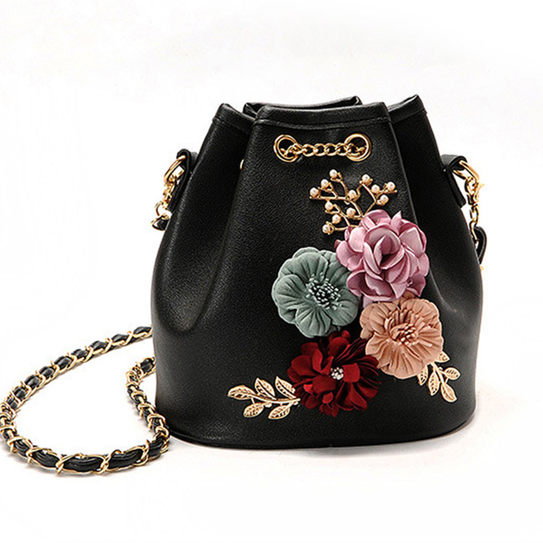 3 Color Ladies' Leather Handbag Bags Fashion With 3D Floral Single-Shoulder Bucket Bag Drawstring Cross Body Chain Bags Hot ethnic women tassel bucket bag fashion long chain crossbody bag drawstring shoulder bags small handbag vintage shoulder bags hot
