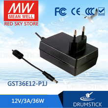 цена на Selling Hot! MEAN WELL original GST36E12-P1J 12V 3A meanwell GST36E 12V 36W AC-DC High Reliability Industrial Adaptor