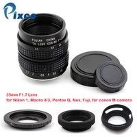 Pixco 35mm F 1 7 CC TV Lens Lens Hood Macro Ring C Mount To Camera
