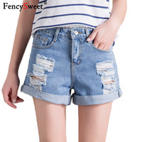 Fencysweet Crimping Ripped Hole Denim Shorts 2019 Blue Fashion Women Summer Streetwear Short Jeans Worn Loose High Waist Shorts