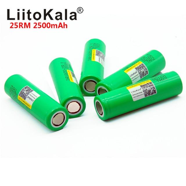 2018 Liitokala 18650 2500 mah INR1865025R 20A разрядный литий батареи электронных сигарет Батарея 18650 2500 25R
