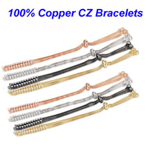 5pcs/lot 100% CZ Copper DIY Bracelet Chains Basic Jewelry Bracelets with two loops DIY Jewelry Finding Supplies Making Bracelets