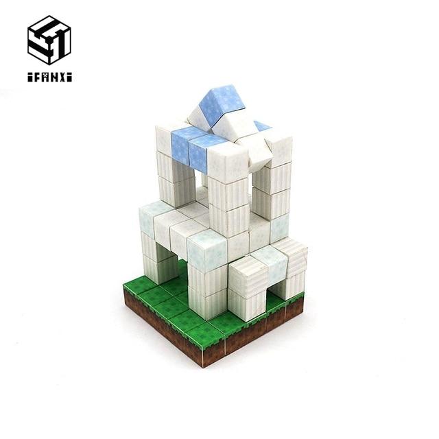 Minecraft Magnetic Building Blocks Models Bricks Hand Paste Compatible With Lego DIY Brain Toy Hardcover-Plain Building Set