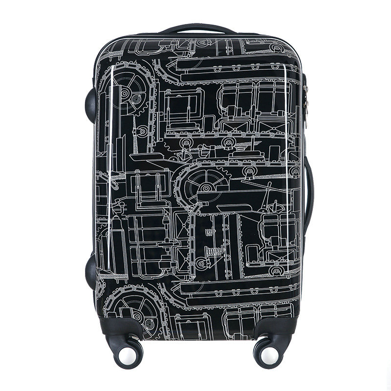 New Men and Women Black Mechanical lines Travel Suitcase Universal Wheels Trolley Luggage Bags Rolling Luggage пашутница remember black lines