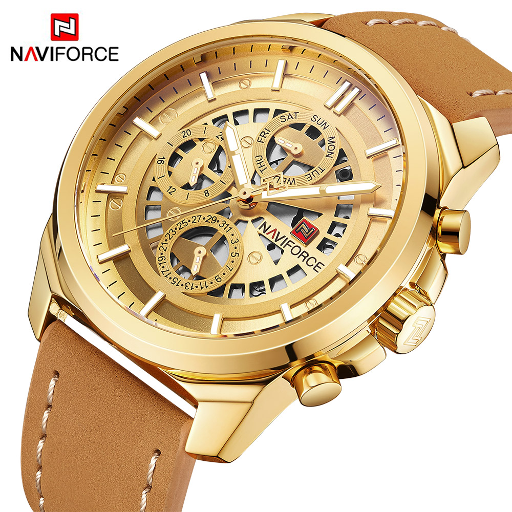 NAVIFORCE Men Fashion Sport Quartz 24 Hour Clock Mens Watches Top Brand Luxury Waterproof Gold Wrist Watch Relogio Masculino new naviforce men watch top brand luxury men s rose gold quartz wrist watches male 24 hour luminous date clock relogio masculino