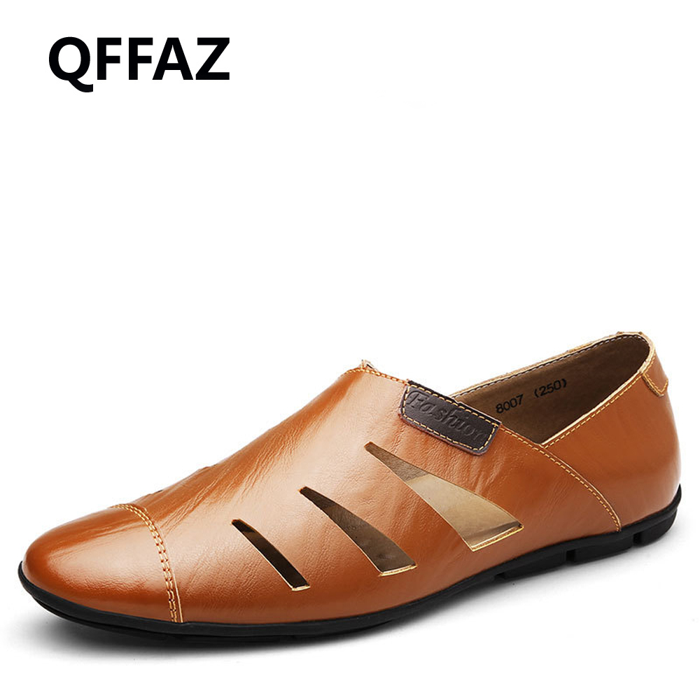 QFFAZ New Flats Summer Genuine Leather Men Loafers Casual Brand Men Casual Shoes Fashion Breathable Driving Shoes Big Size 38-47 brand summer causal shoes men loafers genuine leather moccasins driving shoes high quality flats for man big size 36 44 lb b0013