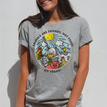 2019 Animals Are Friends Not Food T-shirt Go Vegan Vintage T-shirt Vegan Shirt Vegetarian Natural Cute Tops Hippie T-shirt