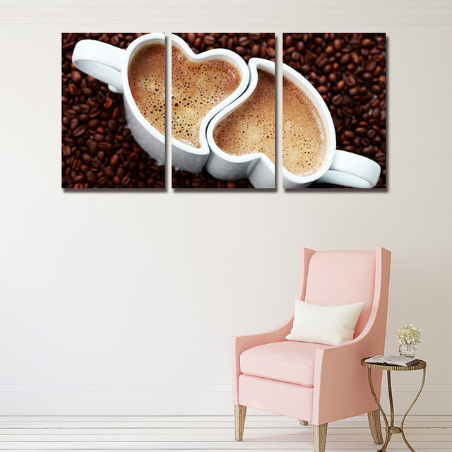 Amor Café Pintura Mural sin marco se Venden Bien 3 Unidades de Muros ...