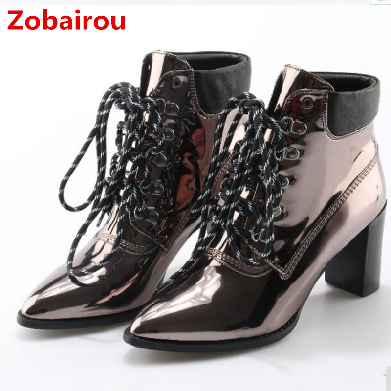 Zobairou chunky high heels patent leather lace up chelsea boots sliver metallic mirror punk ladies shoes rain ankle boot woman
