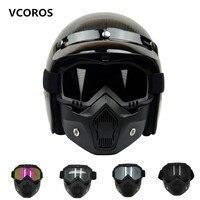 VCOROS รถจี๊ป Monster Face SHIELD VINTAGE รถจักรยานยนต์แว่นตาที่ถอดออกได้และปากเปิดหน้าครึ่งหมวกกันน็อกหมวกกั...