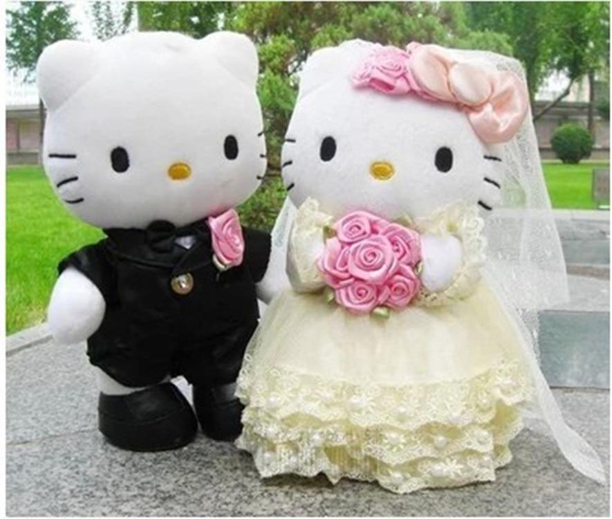 New Cute 1pair 20cm-30cm Wedding Couple Gifts Hello Kitty Cat & Bear Stuffed Plush Doll Toys On The Wedding Car For Wedding Gift