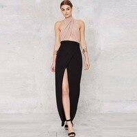 Custom Made Black Long Maxi Skirt Empire Waistline A Line Floor Length Front Slit Skirt Elegant