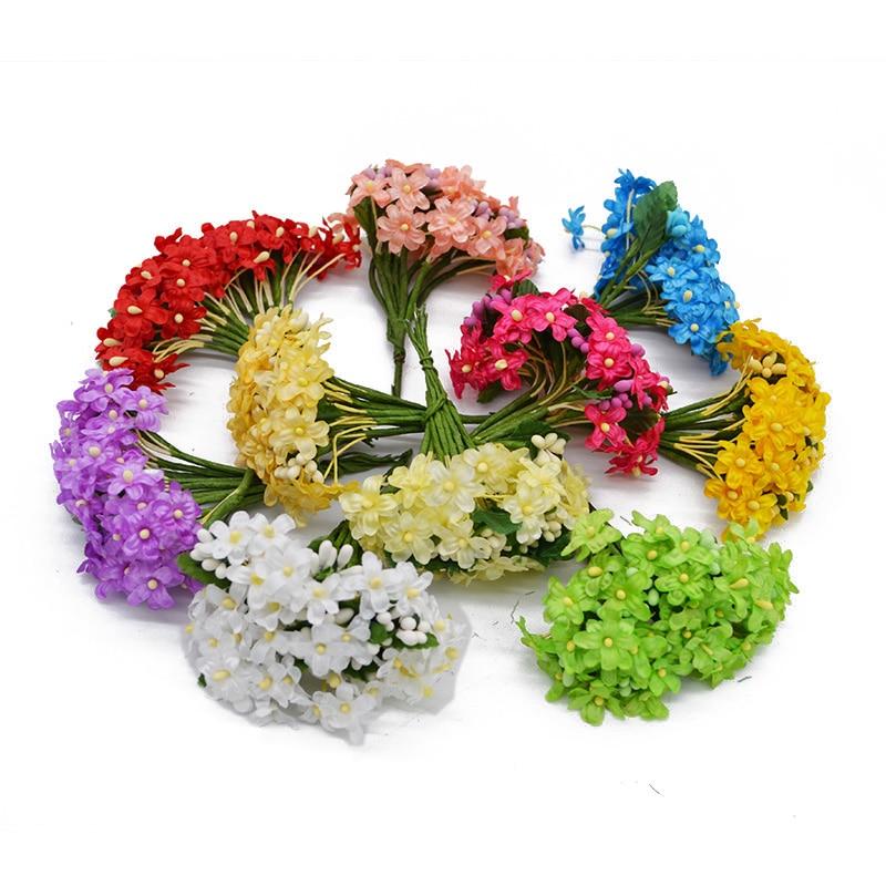 36pcs/lot 2cm Mini Artificial Plum Stamen Berry Flower bouquets For Wedding Decoration Home Garden Decorative Wreath Supplies