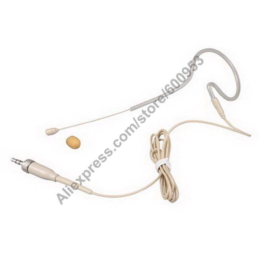 micwl beige single ear omnidirectional headset microphone for sennheiser g1 g2 g3 head headworn