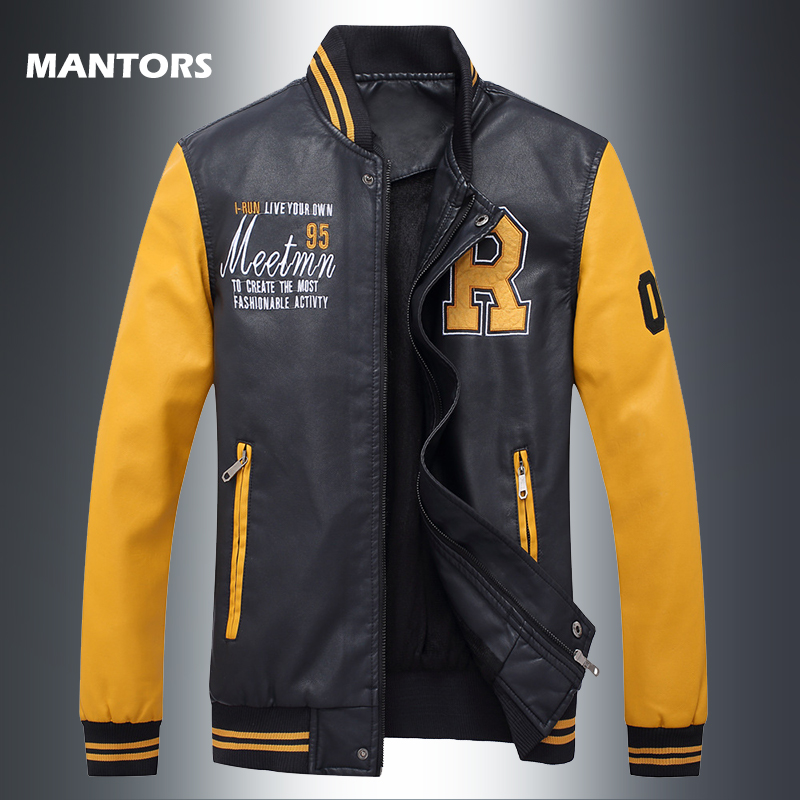 Spring Autumn PU Baseball Jacket For Men Stand Collar Handsome Leather Jackets Casual Bomber Jacket Patchwork Slim Zipper Coats