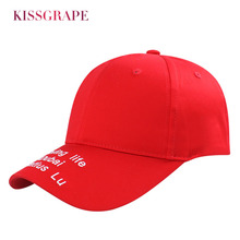 High Quality 2019 Spring New Unisex Cotton Red Baseball Cap For Men and Women 3D Embroidery Letters Caps Baseball Hat Adjustable 2017 new arrival high quality snapback cap cotton baseball cap true north canada maple embroidery hat for men women unisex caps