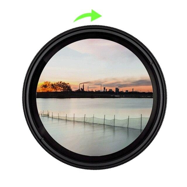 37 49mm 52mm 55mm 58mm 62mm 67mm 72mm 77mm 82mm 86 משתנה מדעך ND מסנן צפיפות ניטראלי ND2 400 עדשת מסנן עבור Canon ניקון
