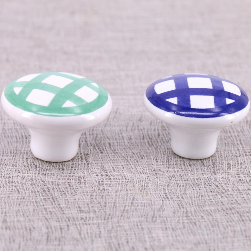 6PCS Hand-painted Ceramic Knobs Kitchen Cabinet Cupboard Door Drawer Pull Handle Knob Single Hole Dia 38mm