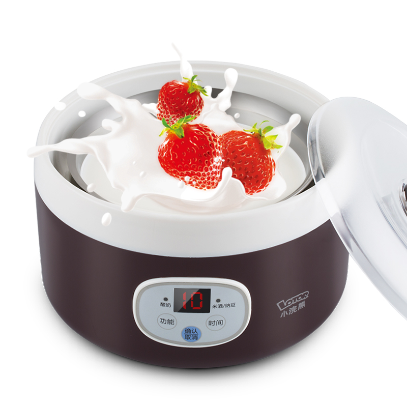 Bear SNJ-A10C1 Household Electric Automatic Yogurt Maker Porcelain Cup Stainless Steel Liner Rice Wine Natto Yogurt Machine purple yogurt makers rice wine natto machine household fully automatic yogurt glass sub cup liner multifunctional kitchen helper