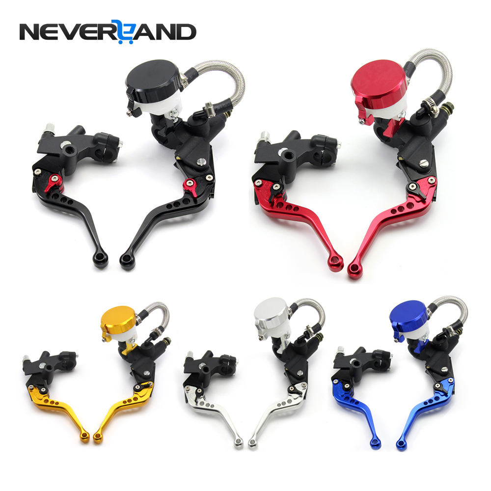 Universal 7/8 22mm Motorcycle Hydraulic Brake Clutch Lever Master Cylinder Reservoir Set For 125-600CC Motorcycle Accessories universal front clutch brake master cylinder reservoir handle bar lever aluminum one pair 7 8 22mm orange