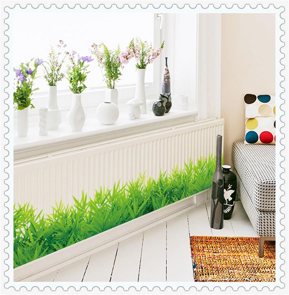 Diseño de la hierba diy extraíble zócalo línea etiqueta de la pared de entrada d