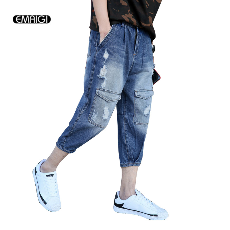 Large Size Summer Men Stretch Hole Harem Jeans Calf Length Pant Male Fashion Casual Denim Trousers large size 29 42 young men jeans hole patchwork denim harem pant male fashion casual denim pant trousers