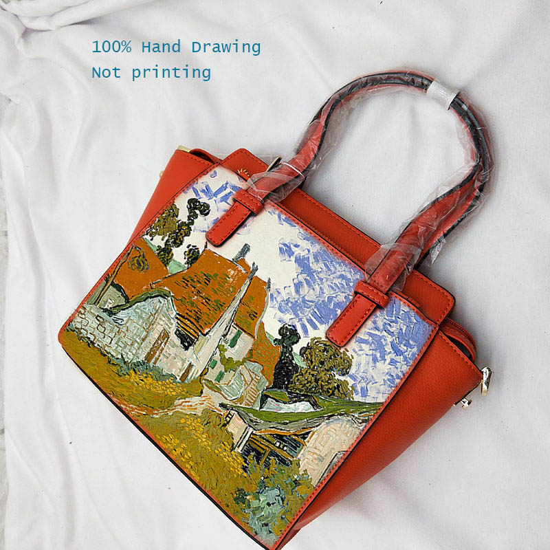 High Quality Real Cowskin Tote Painting Landscape Designer Crossbody Bag Women Genuine Leather Handbag Orange ladies hand bags high quality tote bag composite bag 2
