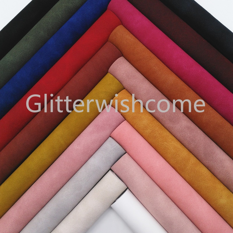 Glitterwishcome 21X29CM A4 Size Suede Faux Leather Fabric, Vinil Para Lozos, Synthetic Leather Fabric For Bows, GM386A