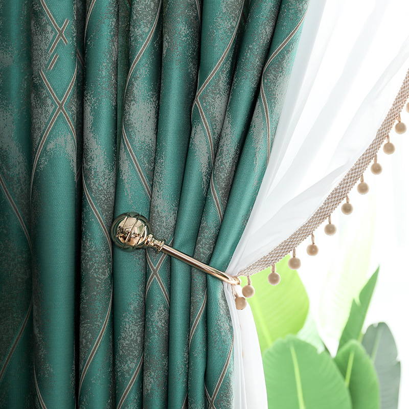 High-end Silky Feel Jacquard Curtains Kitchen Blackout Drapes Fabric for Living Room Bedroom Blackout Window Treatments Light Lu