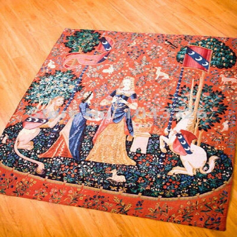 138*105 cm Stile Europeo Belgio Medievali Art Tessuti Tessili Per La Casa Unicorn Serie Camera Da Letto Nobildonna Parete Appeso Arazzo Immagine - 2