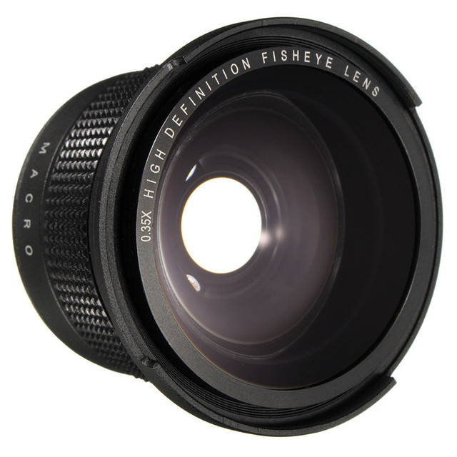 0.35X Super Wide Angle Fisheye Macro Lens 58mm For Canon EOS 700D 650D 600D 70D Rebel T6i T5i T4i T3i T2 XSi SL With 18-55mm
