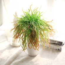 Artificial Flower Simulation Leaves Real Touch Green Grass Succulents For Home Indoor Plant Wall Decoration