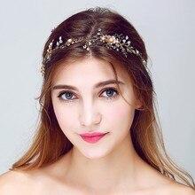 Oro Floral Accesorios Celada Diadema Nupcial Pelo de La Boda de La Hoja de La Vendimia Hecha A Mano de Cristal Mujeres Diademas con la cinta