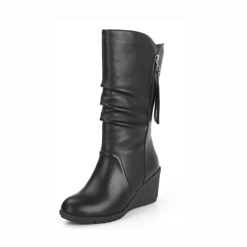 Kışlık Botlar Bayan Botları Kama Orta Buzağı çizmeler kadın ayakkabıları Siyah Moda anne ayakkabısı Deri Çizmeler Yuvarlak Ayak Bayanlar Ayakkabı