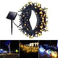 Luz Solar 100/200/500 LED Hada cadena luces al aire libre impermeable Navidad Garland Solar jardín luces para boda decoración