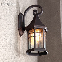 Vintage glass outdoor wall lamp LED villa sconce lamp designer royal house/garden patio/courtyard/porch waterproof wall lighting