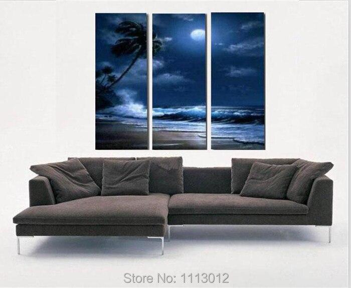100% Высокое качество 3 шт. комплект Tall ладони море Защита от солнца картина маслом на холсте дома стены Книги по искусству украшения современ...