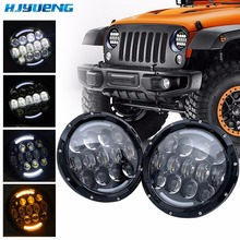 1 Pair 75W for jeep wrangler led headlight high low beam DRL Daytime Running Lights white for jeep wrangler nighteye 7 78w h4 led bulb running lights for cars hi low beam drl car led lights for jeep wrangler harley davidson motoycycle